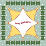 Christmas tree frame, stars and snow pattern in christmas card Stock Images