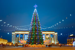 Christmas tree in front of building of the Palace Royalty Free Stock Photo