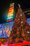 Christmas Tree in front of Central world deparment store with Tourist walking in Christmas eve day.bangkok City thailand. Bangkok/Thailand - 24 December 2015 royalty free stock photo