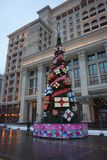 Christmas tree in front of hotel Moskva Royalty Free Stock Photos
