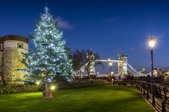 Christmas tree in front of the iconic Tower Bridge in London. Illuminated Christmas tree in front of the iconic Tower Bridge in London during winter time royalty free stock photos