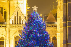 Christmas Tree In Front Off Parliament Building, At Kossuth Squa Stock Image