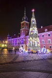 Christmas tree in front of Royal Palace in Warsaw Royalty Free Stock Photos