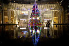 Christmas tree in front of shopping mall Royalty Free Stock Photography