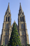 A christmas tree in front of St Ludmila Church Stock Photo