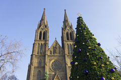 A christmas tree in front of St Ludmila Church Royalty Free Stock Photography