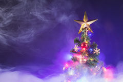 Christmas tree in frozen mist Royalty Free Stock Images