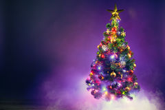 Christmas tree in frozen mist Royalty Free Stock Image