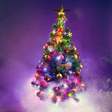 Christmas tree in frozen mist Royalty Free Stock Photos