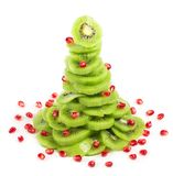 Christmas tree with kiwi and pomegranate Royalty Free Stock Image