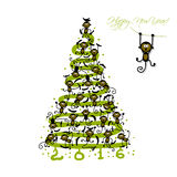 Christmas tree with funny monkeys for your design. Vector illustration royalty free illustration