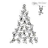 Christmas tree with funny monkeys for your design. Vector illustration Stock Image