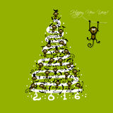 Christmas tree with funny monkeys for your design Royalty Free Stock Photo