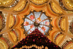 The Christmas tree at Galeries Lafayette Stock Photography