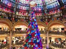 Christmas tree in Galeries Lafayette Paris. Paris France, 16 November 2017: Giant Christmas tree inside Galeries Lafayette Parisian department store Royalty Free Stock Image