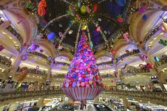Christmas Tree at Galeries Lafayette - Paris. During the Christmas season, the Galeries Lafayette department store is offering a giant Christmas tree royalty free stock photos