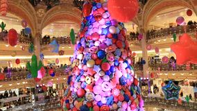 Christmas Tree in Galleries Lafayette stock video