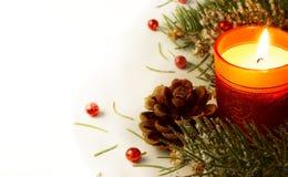 Christmas tree garland and candle. Christmas garland and candle Christmas theme Stock Image