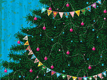 Christmas tree with garland Royalty Free Stock Images