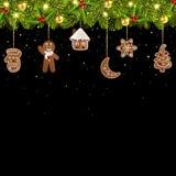 Christmas tree garland with Christmas gingerbread stock illustration