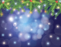 Christmas Tree Garland and Lights Bokeh Stock Image
