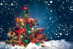 Christmas tree with garland of lights and decorations. Christmas symbol Royalty Free Stock Photography