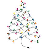 Christmas tree garland. Lights string of Christmas background on white royalty free stock photos