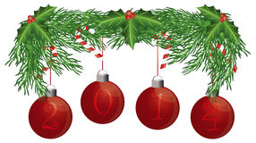 Christmas Tree Garland with 2014 Ornaments Isolate vector illustration