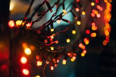 Christmas tree garland with red lights royalty free stock photos