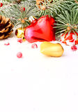 Christmas tree garland. Snow, Christmas eve or New Year Royalty Free Stock Images