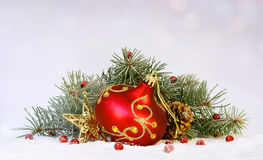 Christmas tree garland. Snow, Christmas eve or New Year Stock Images