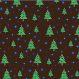 Christmas tree with garland and snowflakes on brown background. Seamless pattern.  Royalty Free Stock Photography