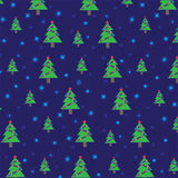 Christmas tree with garland and snowflakes on dark blue background. Seamless pattern Royalty Free Stock Photo