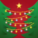 Christmas tree with garland vector illustration. And shining star Stock Photos