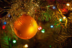 Christmas-tree, garlands and decorations Stock Photo