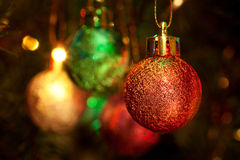 Christmas-tree, garlands and decorations Stock Photos