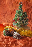 Christmas tree, garlands, decorations and candles, gingerbread cookies Royalty Free Stock Images