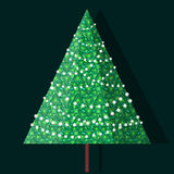Christmas tree in garlands of light bulbs Royalty Free Stock Photography