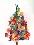 Christmas tree with garlands and lights on. Christmas tree with decorations and lights on Royalty Free Stock Photography