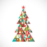 Christmas tree with geometric graphic decorate, vector Stock Images