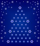 Christmas tree. A geometric pattern on a blue background with snowflakes , stars, vector illustration Stock Image