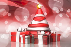 Christmas Tree with Gift Royalty Free Stock Photo