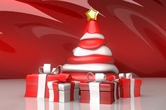 Christmas Tree with Gift Royalty Free Stock Photography
