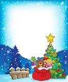 Christmas tree and gift bag frame 1 vector illustration