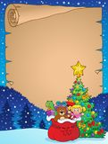 Christmas tree and gift bag parchment 2 stock illustration