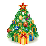 christmas tree and gift box Royalty Free Stock Images