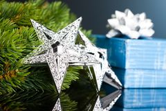 Christmas tree with gift box Stock Photos