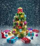 Christmas tree and gift box royalty free stock photos