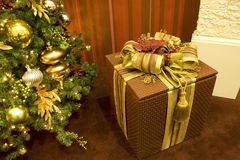 Christmas tree gift box Stock Photography