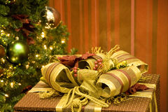 Christmas tree gift box Stock Images